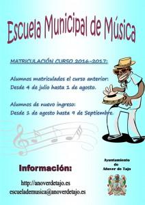 Matrículas 2016-2017 de la escuela municipal de múscia