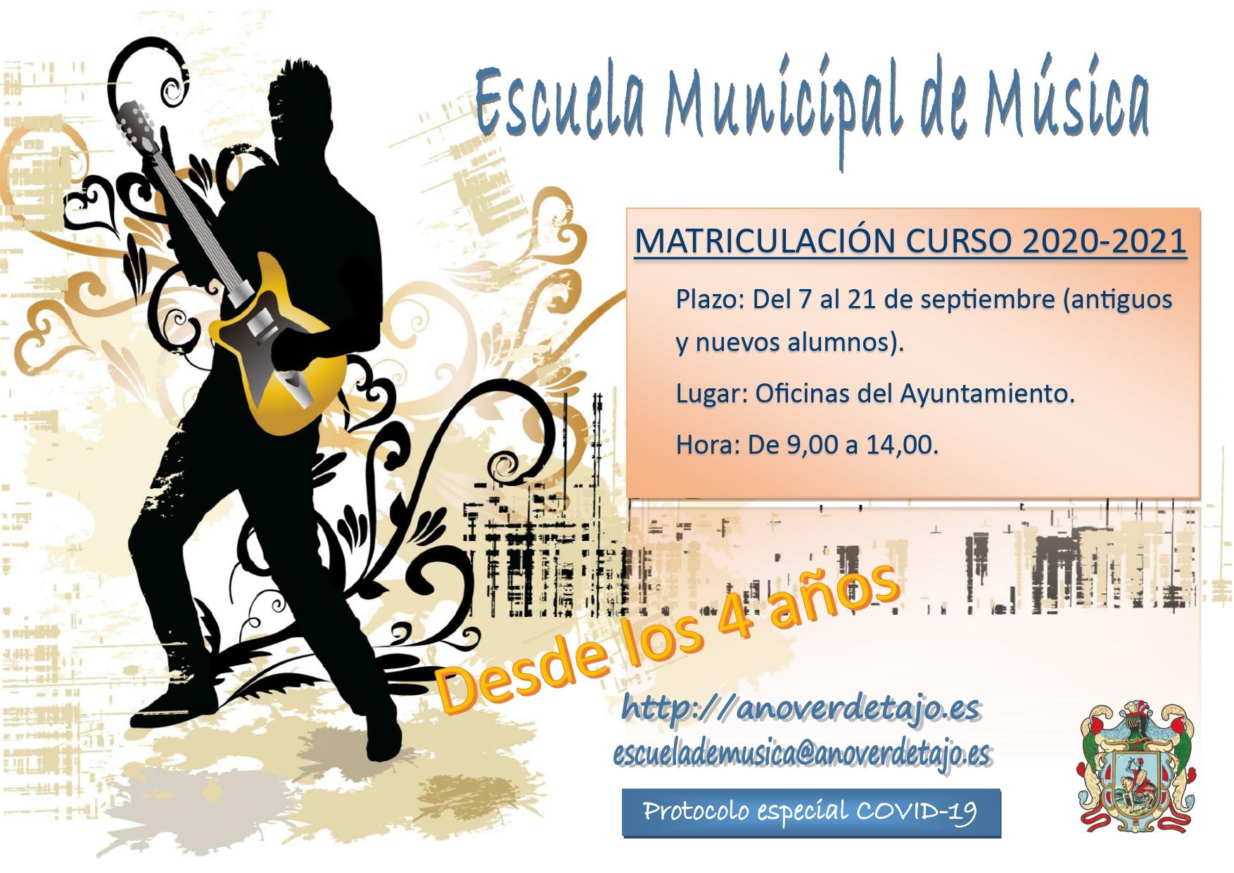 Información y Matrícula Escuela Municipal de Música Curso 2020/2021